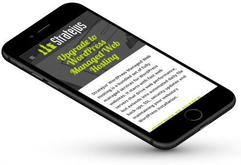 Stratejus Mobile Hosting page displayed on a smartphone