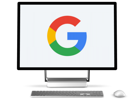 Google logo displayed on Microsoft Studio desktop
