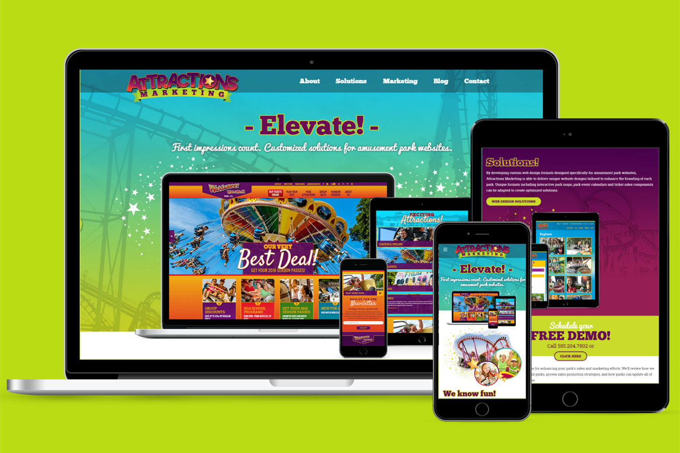 Attractions Marketing on multiple devices, green background