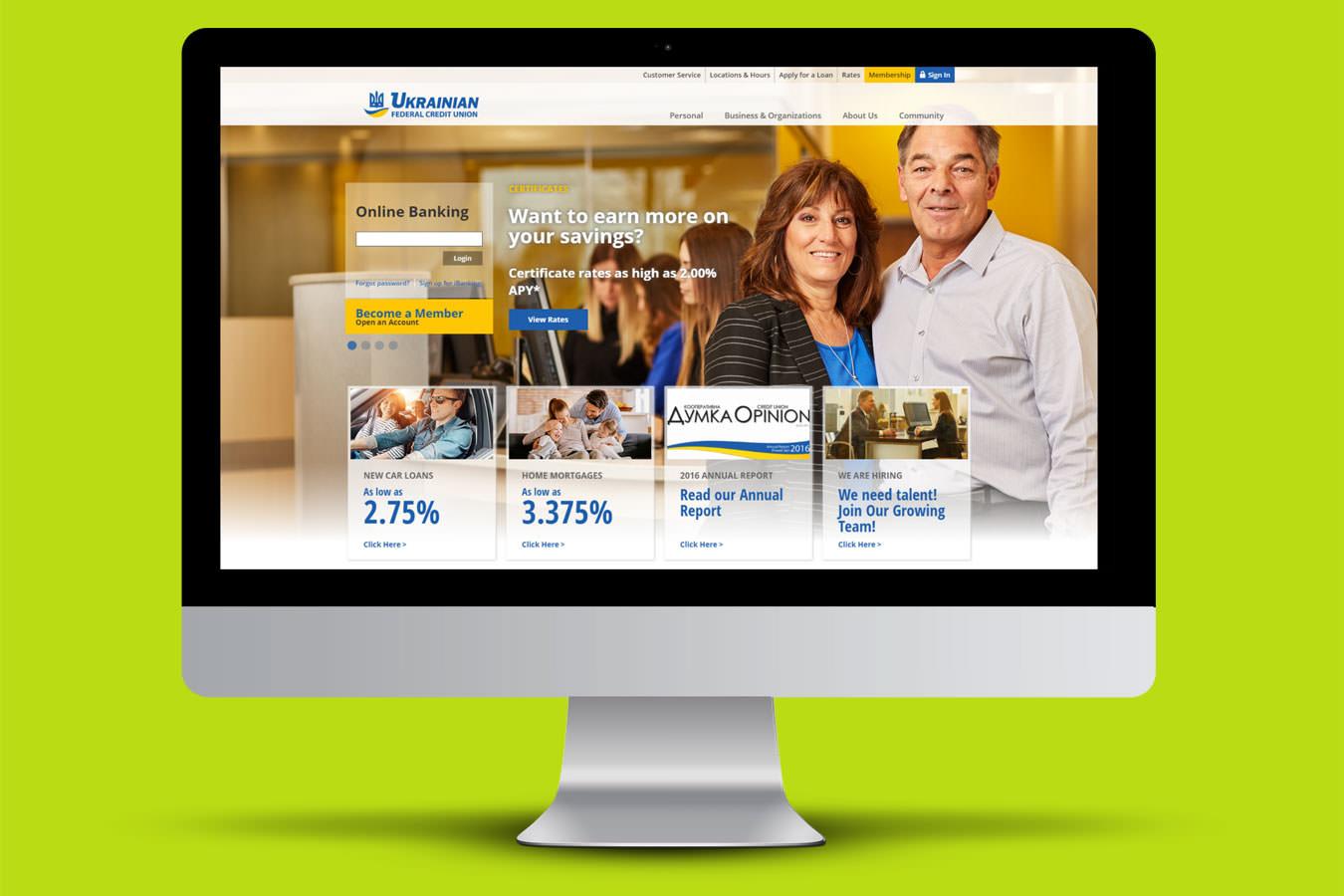 UFCU website homepage displayed on iMac