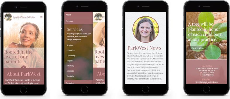 ParkWest Women's Health website displayed on 4 smartphones
