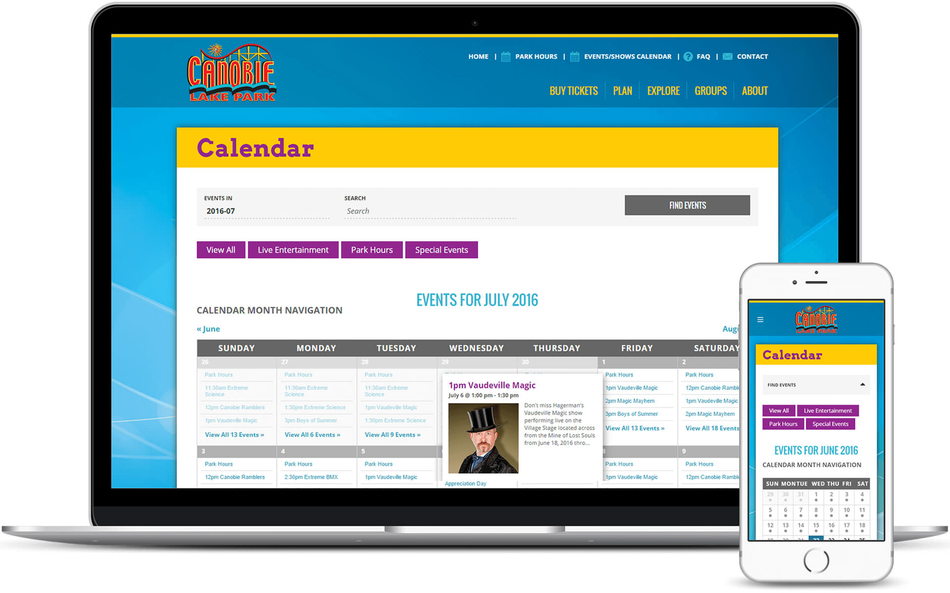 Events Calendar for Canobie Lake Park on laptop and phone