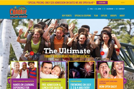 Canobie Amusement Park website homepage
