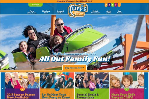 Cliff's Amusement Park website homepage