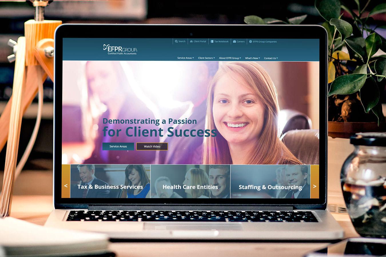 EFPR Group homepage on laptop