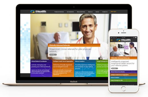 eHealth Technologies website displayed on laptop and smartphone
