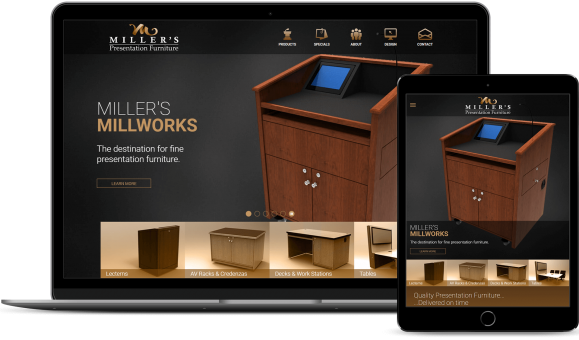 Miller's Millworks displayed on Macbook and iPad