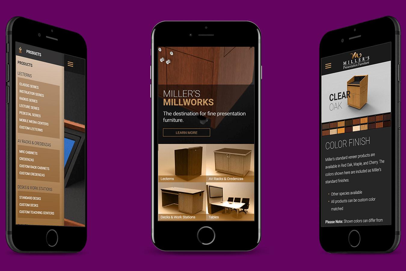 Miller's website displayed on 3 smartphones