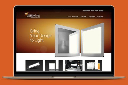 OledWorks website displayed on a laptop