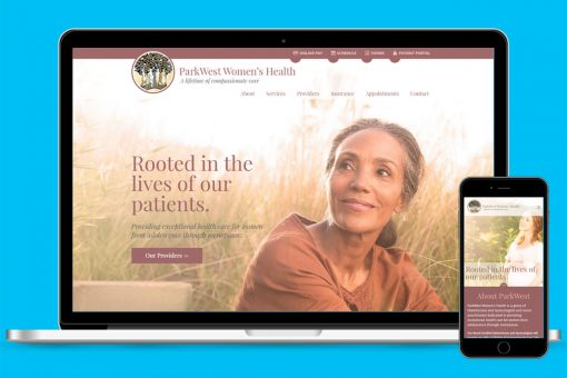 ParkWest Women's Health website displayed on laptop and phone