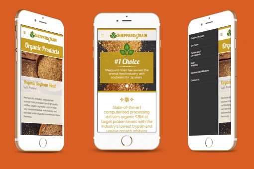 Sheppard Grain website displayed on 3 smartphones