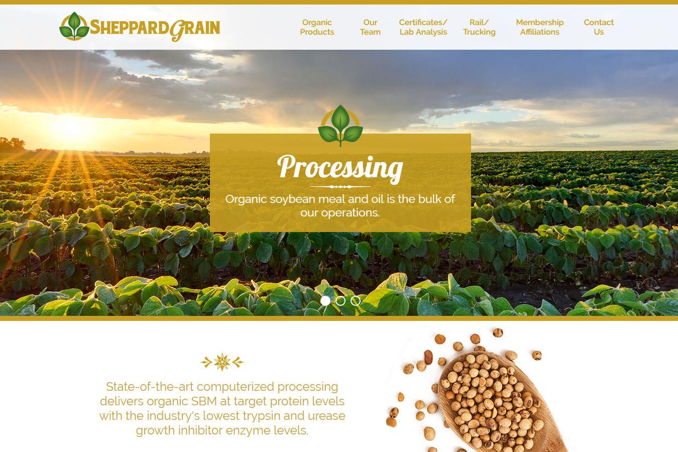 Sheppard Grain website homepage