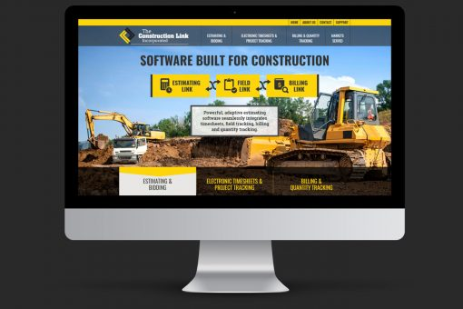 Construction Link homepage on iMac display