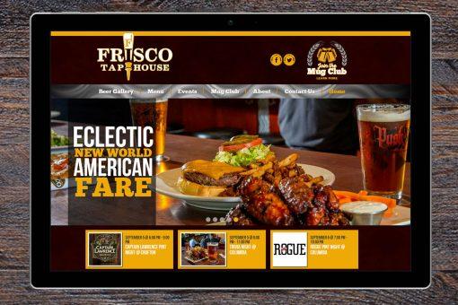 Frisco Tap House website on a tablet, wooden desk background