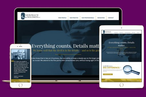 Merzbach website displayed on multiple devices