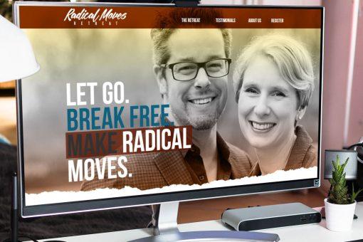Radical Moves website homepage displayed on desktop