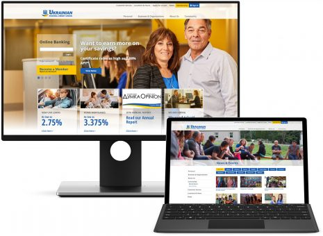 Ukranian Federal Credit Union on Microsoft desktop and Microsoft Surface displays