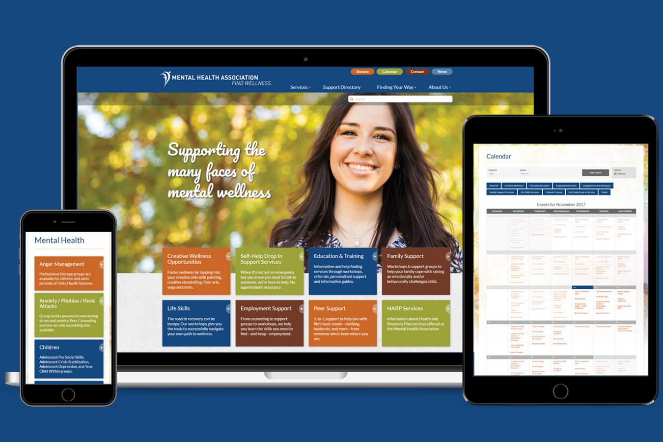Mental Health Association website on multiple devices