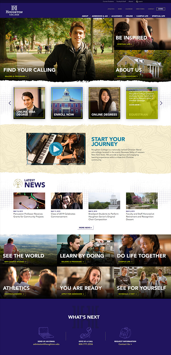 Houghton College Website Home Page