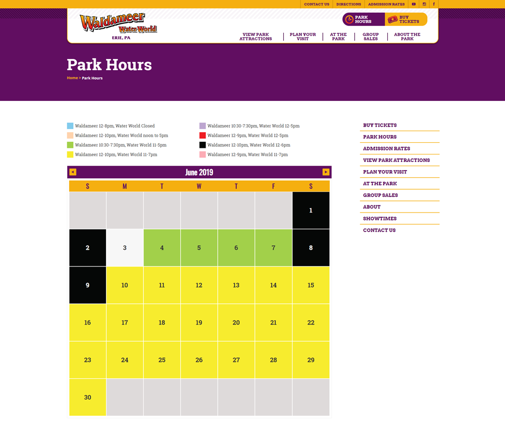 Park Hours Waldameer Park & Water World 1000
